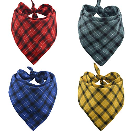 Lamphy 4Pcs Dog Bandana Plaid Reversible Pet Triangle Head Scarf Accessories Bibs for Dog Cat
