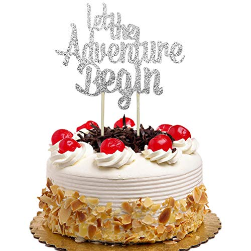 Let The Adventure Begin Cake Topper for Wedding, Engagement, Baby Shower Party Decorations Silver Glitter ()