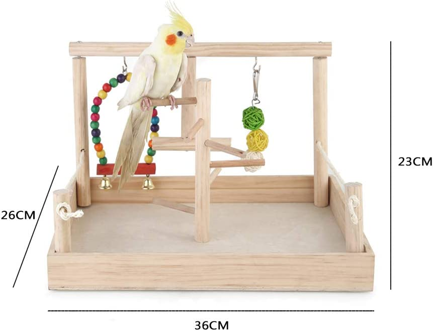 PETAMANIM Soporte de Actividad de Madera de Loro Parrot Stand Juguete de Soporte de Jaula para Pájaro Periquito Cacatúa Juguete de Entrenamiento: Amazon.es: Deportes y aire libre