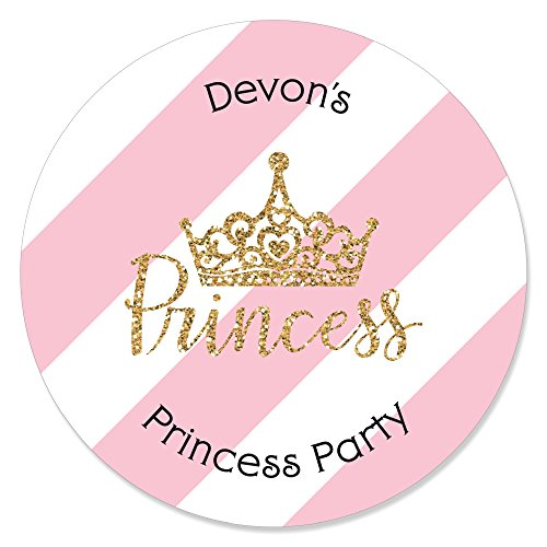 (Personalized Little Princess Crown - Custom Pink and Gold Princess Baby Shower or Birthday Party Favor Circle Sticker Labels - Custom Text - 24 Count)