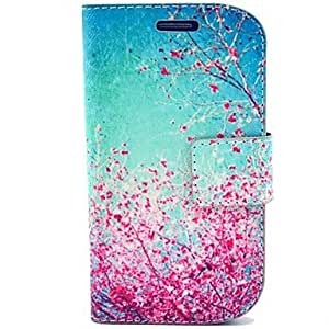 SHOUJIKE Cherry Flowers Pattern PU Leather Hard Case with Card Slot for Samsung Galaxy S3 mini I8190