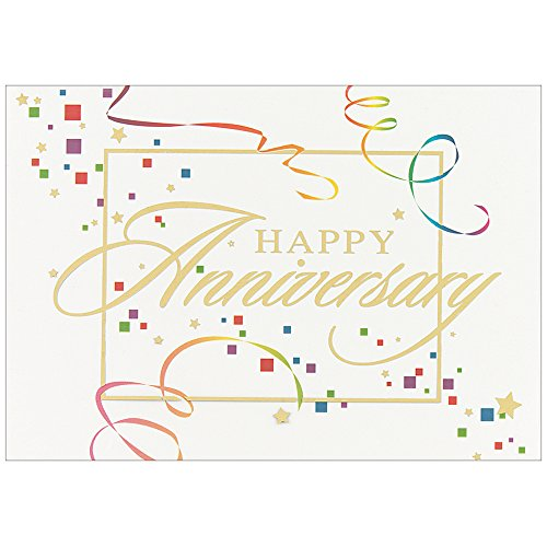 (JAM Paper Blank Anniversary Card Sets - Anniversary Colorful Squares Theme - 25/pack)