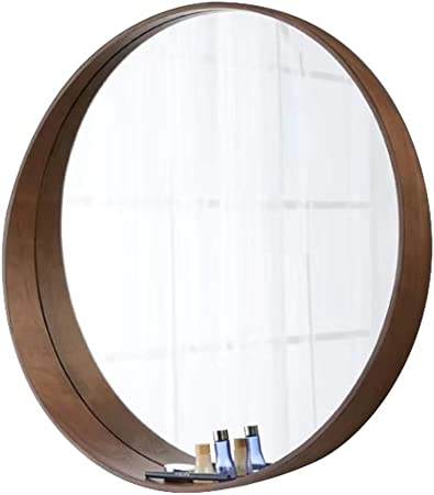 Wall Mirror Round Wooden Border With Shelf Hd Makeup Mirror Vanity Mirror Wall Mounted Shaving Mirror Walnut Color Amazon Co Uk Kitchen Home