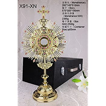 amazon com cross and rays gold monstrance reliquary with luna and