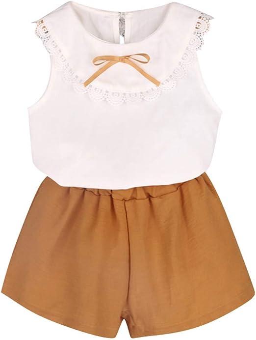 2pc Toddler Baby Girls Cartoon Summer Clothing Sleeveless T-shirt+Shorts Clothes