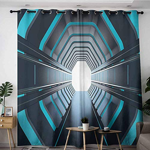 Onefzc Curtains for Bedroom,Outer Space Decor Tunnel with Neon Lights Passage Mercury Lunar Orbit Inspired Stardust Art,Space Decorations,W108x108L,Blue Black ()