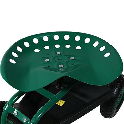 Sunnydaze Garden Cart Rolling Scooter with Extendable Steering Handle, Swivel Seat & Utility Basket, Green by Sunnydaze Decor (Image #8)