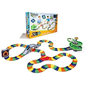 Kidoozie Super Spiral Build-A-Road with Over 17 Feet of Interchangeable, Flexible Track and 2 Battery Operated Cars