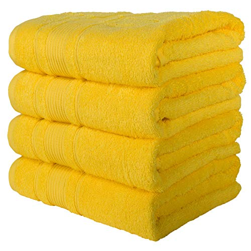 Qute Home Towels 100% Turkish Cotton Yellow Bath Towels Set | Super Soft Highly Absorbent Towels | Spa & Hotel Towels Quality Quick Dry Towel Sets for Bathroom, Shower Towel – (Bath Towel – Set of 4)
