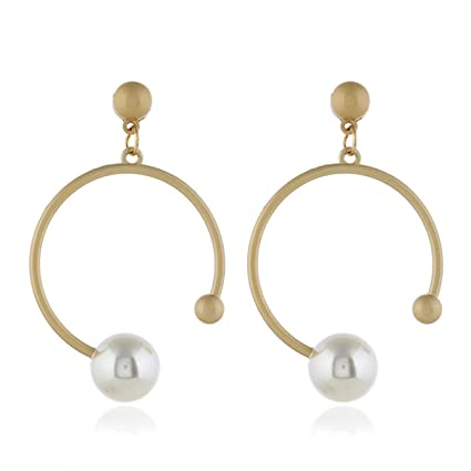 55bb8bfdfdd66 Amazon.com: Essencedelight Beads Earrings Round Pearl Stud Open Hoop ...