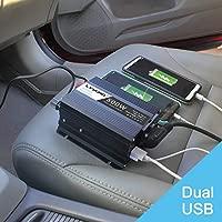 Yinleader 500W Inversor de Corriente, DC 12V, 220V-240V AC Salida, Dual Puertos USB 5V/2.4A