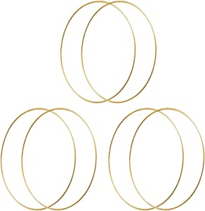HOHIYA 10 inch Metal Hoop Craft Dream Catcher Floral Macrame Wreath 4mm Wire Ring for Christmas Wedding Decor Gold 6pcs