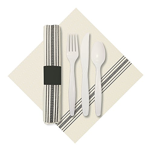 Hoffmaster 120012 Rolled Cutlery Set with Printed Dishtowel Dinner Napkin with Knife, Fork, and Spoon, White/Black (Pack of 100) (Cutlery Black Rolled Pre)