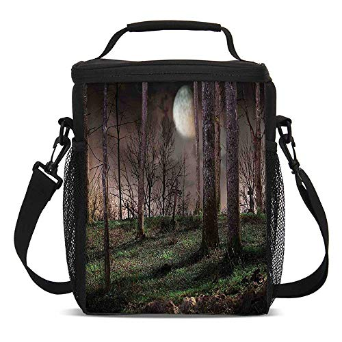 Gothic Fashionable Lunch Bag,Dark Night in the Forest with Full Moon Horror Theme Grunge Style Halloween for Travel Picnic,One size