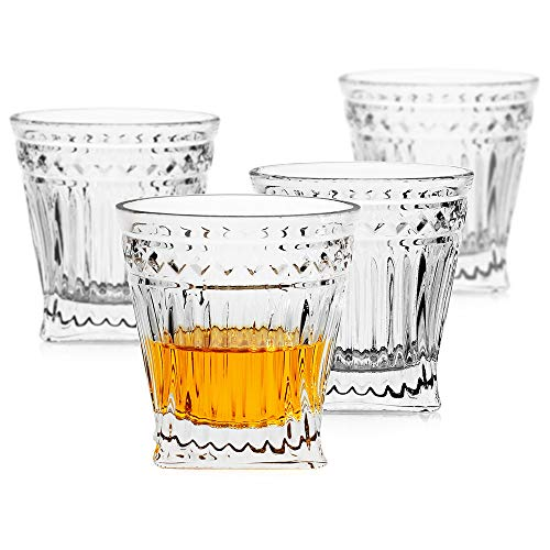 LUXU Whiskey Glasses(Set of 4)-9 oz Vertical Stripes Scotch Glasses,Premium Old Fashioned Glasses,Clear Crystal Bourbon…