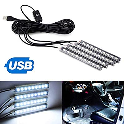 iJDMTOY 4pc 5-Inch 36-SMD LED Ambient Styling Lighting Kit As Car Interior Decoration, Powered From Car 5V USB Socket, Xenon White: Automotive