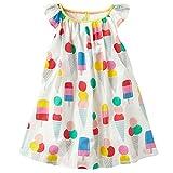 Vicky Piggy Little Girls Dress,Formal Dresses Summer Sleeve Cotton Casual Dress (18M, Ice Cream)