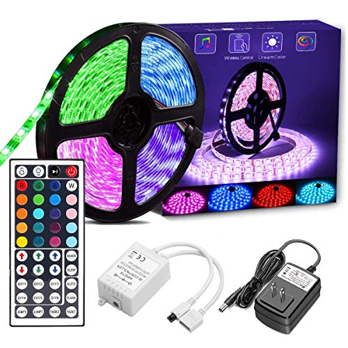 UPGRADED Dimmable LED Strip Lights Kit,16.4ft 150 LEDs SMD 5050 LED Tape Lights, 44 Key Color Changing LED Strip Lights with Remote Controller,Flexible Changing Multi-Color Lighting Strips for TV,Room