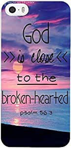 Case for iPhone 5S,iPhone 5 Case With Inspiration Bible Saying Psalm 56:3 God is close to the broken-hearted