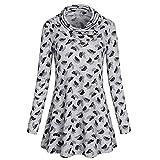 Dacawin Women Fashion V-Neck Blouse Button Print Long Sleeve Tops Loose T-Shirt