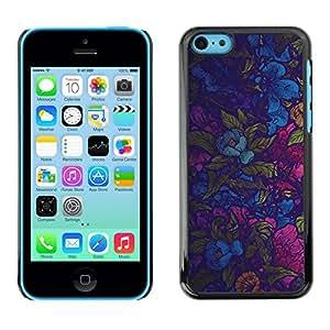 TECHCASE**Cubierta de la caja de protección la piel dura para el ** Apple iPhone 5C ** Colorful Flowers Wallpaper Fabric Design Pattern