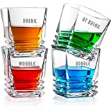 DOUBLE DRAM Shots in the Dark Whisky Glasses Set of 4   Unique Men's Gifts for Birthday, Christmas, Holiday   Crystal Clear Glass 9 Oz. Cups   Prime Corporate Gift Idea for Whiskey Tequila, Vodka, Rum