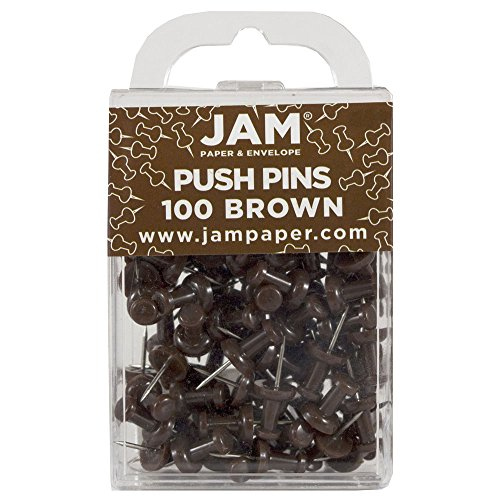 JAM PAPER Colorful Push Pins - Chocolate Brown Pushpins - 100/Pack