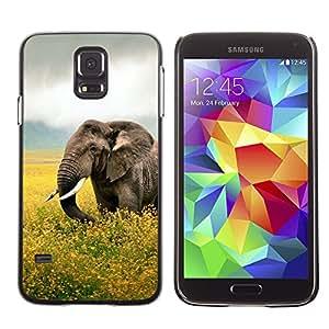 KLONGSHOP // Cubierta de piel con cierre a presión Shell trasero duro de goma Protección Caso - Happy Elephant - Samsung Galaxy S5 //