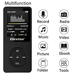 Handy & Portable 8GB HiFi Sound MP3 MP4 Player 70 Hours Playback with Voice Recorder/FM Radio/Video/Stopwatch Support Up To 64GB Micro SD Card (Black)