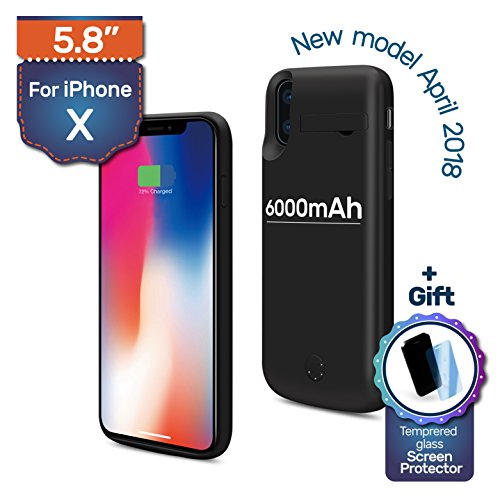 iPhone X Backup Battery Charger Protective Case, 6000mAh, 180% Extra, Fast-charging Power Bank. Light and Slim + Gift: Glass Screen Protector by Never Run Out (Image #10)