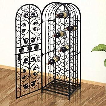 Daonanba Wine Cabinet Metal Wine Cabinet Rack Wine Stand Classic Romantic Home Decoration Style B 45 Bottles
