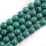 iSTONE 8mm Round Gemstone Natural Turquoise Beads Strand 16 Inch Jewelry Making Beads