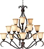 Maxim 10129WSOI Basix 15-Light Chandelier, Oil Rubbed Bronze Finish, Wilshire Glass, MB Incandescent Incandescent Bulb , 100W Max., Dry Safety Rating, Standard Dimmable, Opal Glass Shade Material, Rated Lumens