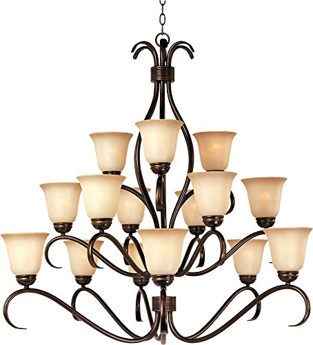 x 15-Light Chandelier, Oil Rubbed Bronze Finish, Wilshire Glass, MB Incandescent Incandescent Bulb , 100W Max., Dry Safety Rating, Standard Dimmable, Opal Glass Shade Material, Rated Lumens (Maxim Iron Chandelier)