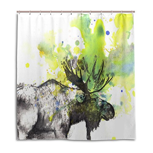Ye Store Moose Portrait Painting Shower Curtain Thicken Waterproof Mildewroof Polyester Cloth 66x72(In) - Moose Portrait