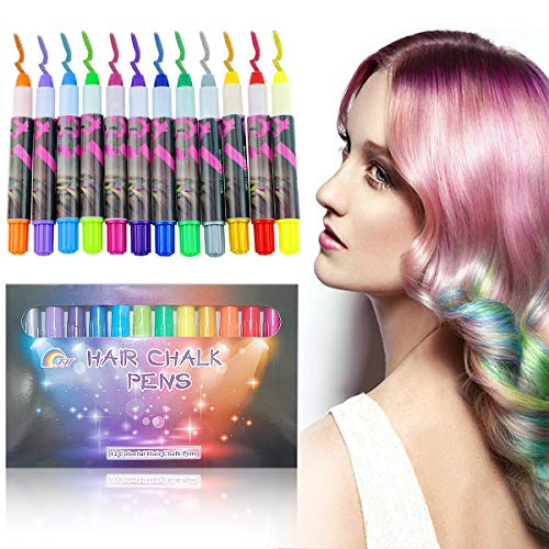 SUNTON 12 Colorful Temporary Hair Chalk Pens, Washable Hair Color Dye Face Kit Safe for Makeup Birthday Party Gift for Girls Kids -
