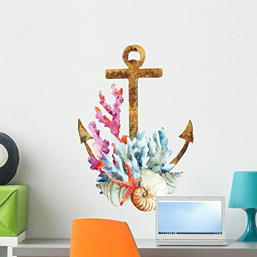Anchor Coral - Wallmonkeys Watercolor Coral Anchor Wall Decal Peel and Stick Decals for Girls (24 in H x 24 in W) WM179250