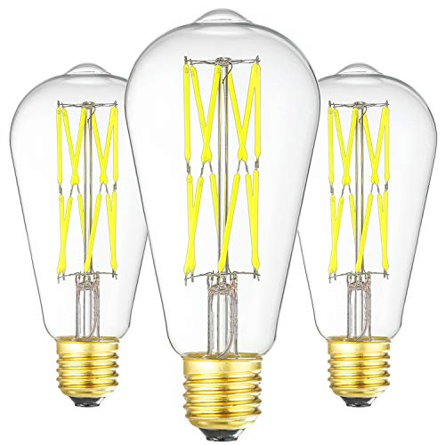 LED Edison Bulb Dimmable 12W 6000K Daylight White 1200LM, 100W Equivalent E26 Medium Base, ST64 Vintage LED Bulbs, 360 Degree Beam Angle, Clear Glass, Pack of 3 (Best Uv Index App)
