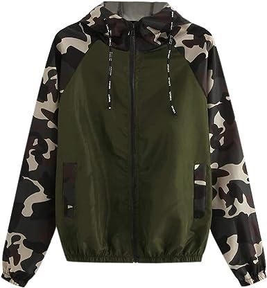 HOOUDO Coats for Women,Sale Auttum Winter Lightweight Sport Sweatshirt with Hoodied Patchwork Camouflage Zip Hoody Jacket Outwear