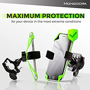 2018 Mongoora Bike Phone Mount for any Smart Phone: iPhone 7 /7+, 6 /6+, 5s, 5, Samsung Galaxy S7 /S7 Edge, S6, S5, S4, Nexus, Nokia, LG. Motorcycle, Bicycle Phone Mount. Bike Mount. Bike Accessories.