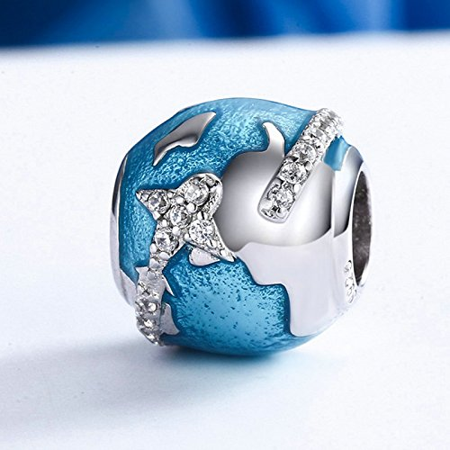 The Kiss Around the World Places of Interest Holiday Vacation Travel Enamel 925 Sterling Silver Bead Fits European Charm Bracelet (Blue Enamel) by The Kiss (Image #2)