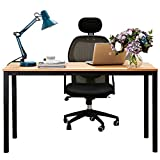 Dland 55'' Large Computer Desk BS1-140TB, Decent & Steady, Composite Wood Board, Home Office Desk/ Workstation/ Table, Teak & Black Legs, 1 Pack