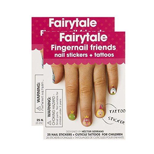Fingernail Friends Colorful Nail Stickers Nail Art for Children, Fairytale Stickers & Cuticle Tattoos (50 Fairytale Stickers & 50 Cuticle Tattoos) (Best Friend Finger Tattoos)