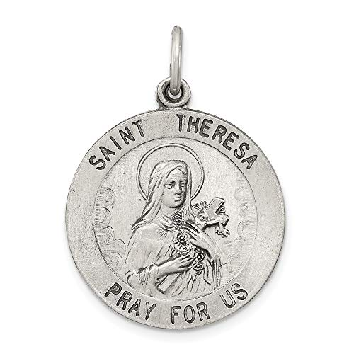 925 Sterling Silver Saint Theresa Medal Pendant Charm Necklace Religious Patron St Thoma Fine Jewelry Gifts For Women For Her