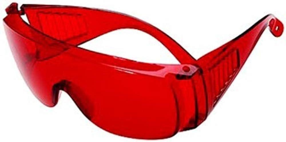 Gafas de protección rojas para lámpara LED de fotopolímerizar.