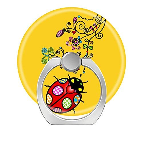 (360 Degree Rotation Socket, Cell Phone Pop Grip Stand Works for All Smartphone and Tablets - Funky Ladybug and Curly Flowers On Yellow)