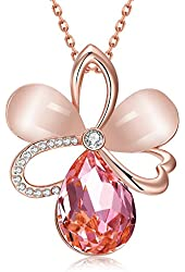 18k Rose Gold-plated Swarovski Elements Crystal Pink Opal Pendant Necklace for My Monther