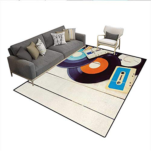 (Floor Mat,Gramophone Records and Old Audio Cassettes on Wooden Table Nostalgia Music,3D Printing Area Rug,Blue Orange BlackSize:6'6