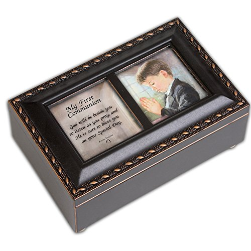 Cottage Garden First Communion Boy Musical Rosary Box Plays