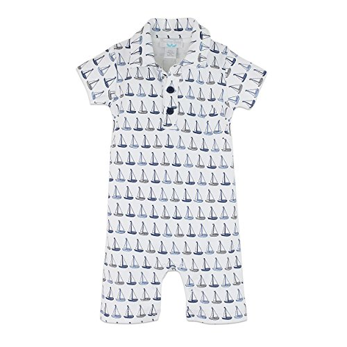 Feather Baby Boys Clothes Pima Cotton Collared Short Sleeve Polo Shortie Romper, 6-9 Months, Sailboats